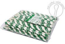 Papier-Löffelhalme, grün/weiß